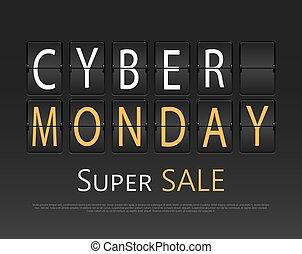 cybernetiska, måndag, mekanisk, panel, letters.