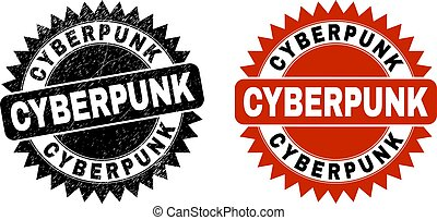 cyberpunk, ロゼット, 切手, grunged, 黒, 手ざわり