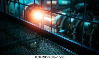 cyberpunk, centrale électrique, nucléaire, ou, réacteur, ...