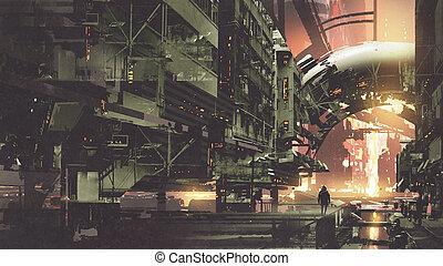 cyberpunk city with futuristic buildings - sci-fi scenery of...
