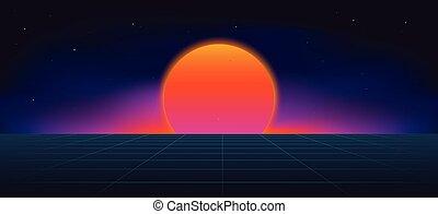 Cyberpunk neon sun background .