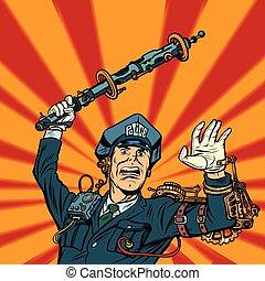 cyberpunk police violence, COP officer beat a baton. Pop art...