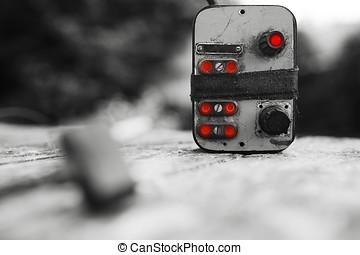 Cyberpunk power control red switch bokeh background hd