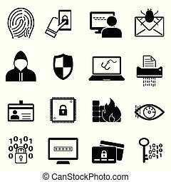 Cybersecurity and online safety icon set
