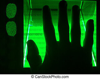 cybersecurity, balayage, numérique, empreinte doigt