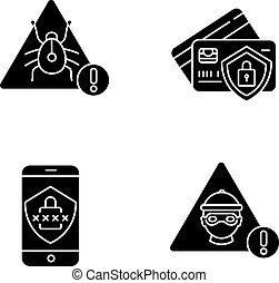 Cybersecurity black glyph icons set on white space