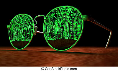 Cybersecurity concept with sunglasses reflecting green ...