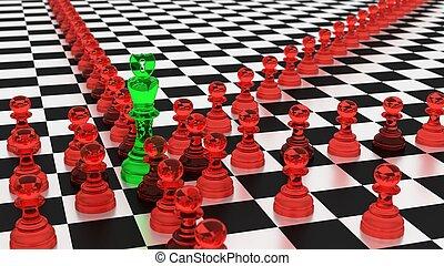 cybersecurity, concepto, ajedrez, botnet, estrategia