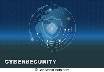 Cybersecurity consept vector drawing on a blue background