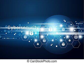 cybersecurity, globale, vektor, netværk, illustration