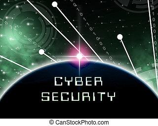 cybersecurity, hightech, garde, 2d, technologie illustration, sécurité