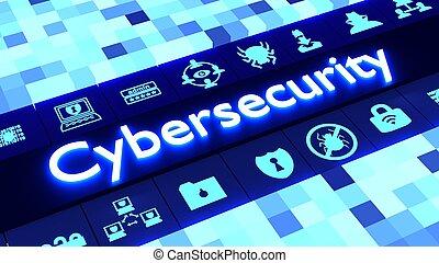 cybersecurity, iconos, concepto, resumen, azul