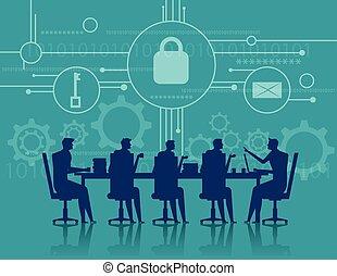 cybersecurity., reunião negócio, security., conceito, negócio, illustration., vetorial, apartamento