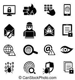 cybersecurity, virus, y, seguridad computadora, iconos