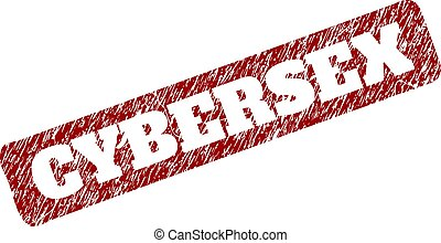 CYBERSEX Red Rounded Rough Rectangle Stamp Seal with Scratched Styles
