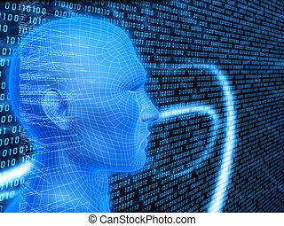cyberspace - 3d rendered illustration of a wire head on a...