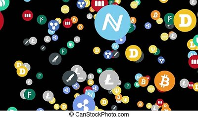 cyberspace, abstract, meldingsbord, cryptocurrency, animatie, zwarte achtergrond, digitale