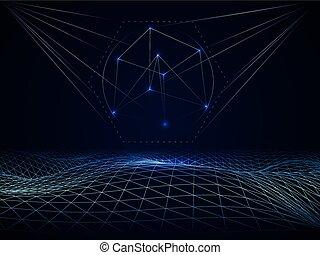 cyberspace, abstrakt, gitter, wellen