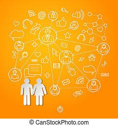 cyberspace, begreb, netværk, globale, vektor, sociale