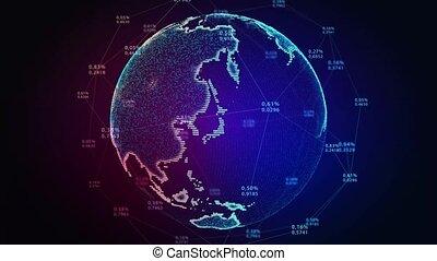 cyberspace, concept., globe., futurystyczny, dookoła, ziemia...