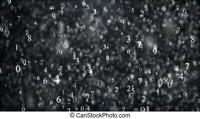 Cyberspace digital world, random numbers, binary code