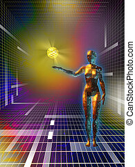 Female figure holding a data sphere in cyberspace. Digital illustration