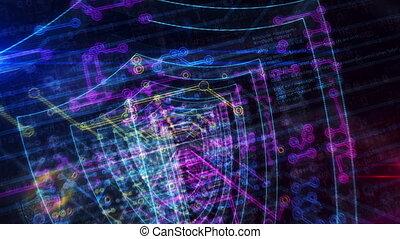 cyberspace, futuristisch, enetry, schild, cyber, animatie,...