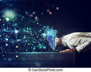 cyberspace, głowa, jego, wnętrze, laptop., połączenie, pojęcie, przez, internet, biznesmen, nałóg