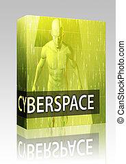 cyberspace, illustratie, doosje, verpakken