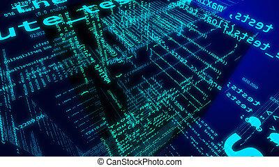 cyberspace, innenseite, würfel, ziffer, zukunftsidee