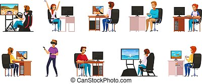 cybersport, ensemble, dessin animé, caractères