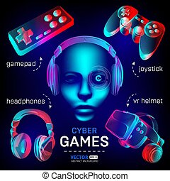 Cybersport games icons set - abstract VR helmet with glasses, headphones, gamepad, joystick and robot face. Outline vector illustration of different stuff for retro games in 3d neon line art style