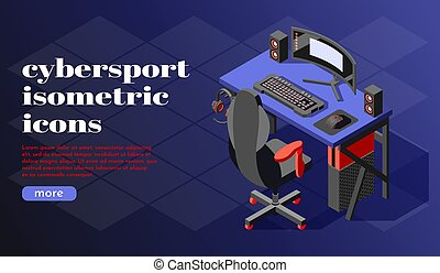cybersport, háttér, isometric
