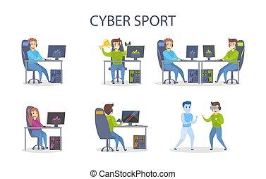 cybersport, hraní, set.