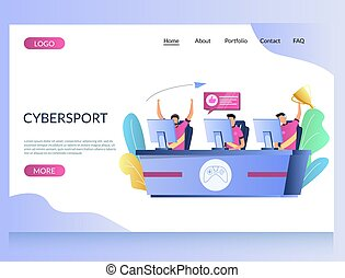 Cybersport vector website landing page design template