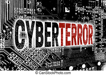 Cyberterror with circuit board concept background