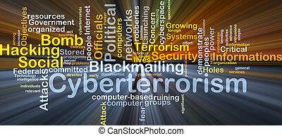 Cyberterrorism background concept glowing