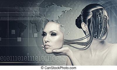 cyborg, 婦女, 摘要, 科學技術, 背景