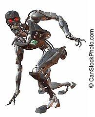 Cyborg 3000-Crouch - 3D Render