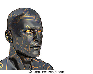 cyborg - abstract 3d illustration of head with electronic...