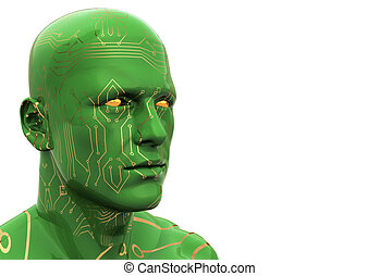 cyborg - abstract 3d illustration of human head with ...