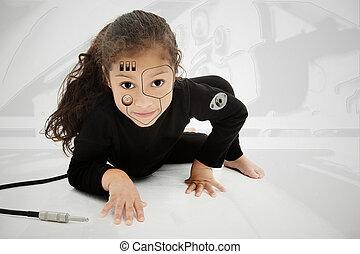 cyborg, adorable, enfant préscolaire