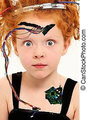 cyborg, alambres, adorable, niño, expuesto