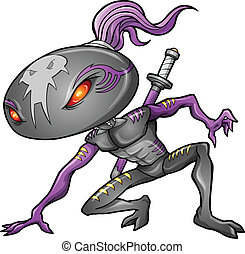 Cyborg Alien Ninja Warrior Robot Vector