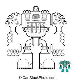 cyborg, book., vector, robot, futuro, guerrero, children., colorido, ilustración