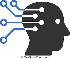 Cyborg Brain Interface Circuit Vector Icon