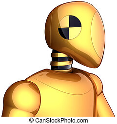 Robot cyborg crash test dummy golden metallic. Futuristic science spaceman doll concept. This is a detailed 3D render (Hi-Res). Isolated on white background