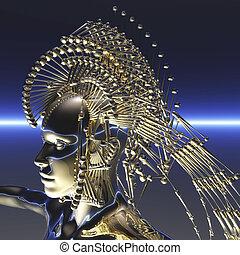 Digital visualization of a cyborg