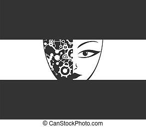 cyborg face illustration
