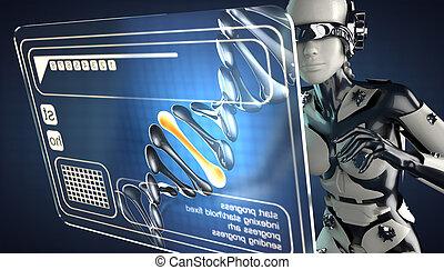 cyborg, frau, hologramm, textanzeige